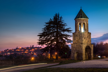 11th century: Night view on Bagrati Cathedral or The Cathedral of the Dormition is an 11th century cathedral in Kutaisi, Georgia.