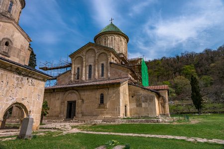 monastic: View from inside and outside Gelati monastery, Georgia.  Gelati is a medieval monastic complex. Gelati was founded in 1106 by King David IV and is recognized by UNESCO as a World Heritage Site.