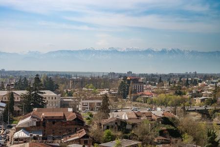 kutaisi: Panorama view on Kutaisi city, Georgia with mountains .Vivid image. Editorial