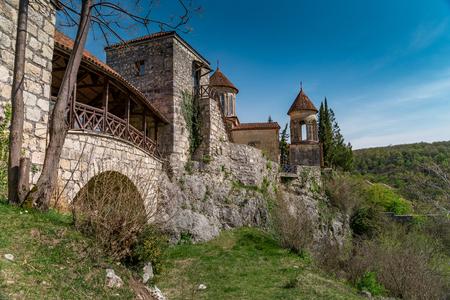 kutaisi: Georgia, Kutaisi. View inside and outside Motsameta monastery. The Tsar Bagrat III reconstructed the church in the 10 th century. The building was reconstructed again in the 19 th century. Stock Photo