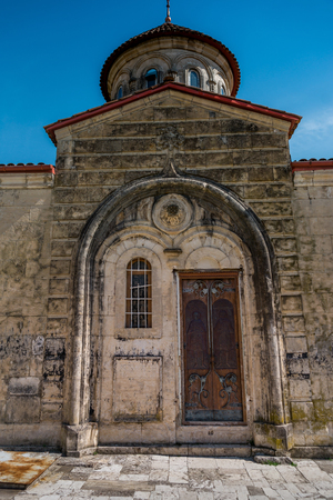 Georgia, Kutaisi. View inside and outside Motsameta monastery. The Tsar Bagrat III reconstructed the church in the 10 th century. The building was reconstructed again in the 19 th century. Stock Photo