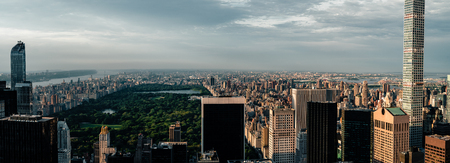 Cityscape view on downtown of Manhattan in New York City at the sunset Stok Fotoğraf - 114603752