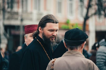 POLTAVA, UKRAINE - MARCH 16, 2019: locals gathering on meeting before president elections in Ukraine Editorial
