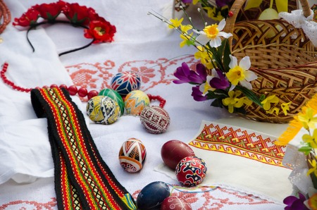 Ukraine tradition eggs in the spring Easter photo