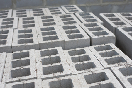 concrete blocks: Stack of cement blocks at the construction site. Stock Photo