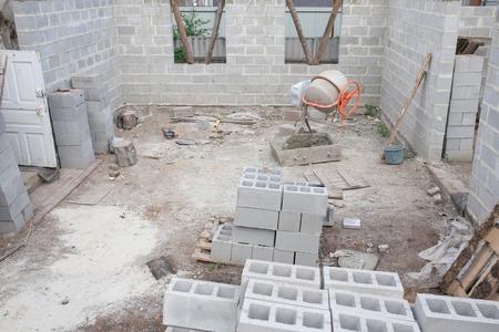 cinder: Construction Blocks at building yard. Building and cinder blocks.