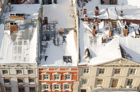 lvov: Winter panorama of Lviv covered by snow, Ukraine.Lviv (Lvov), Eastern Ukraine - the view of the city from the city hall clock tower