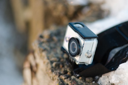 definition high: Detail shot with action camera mounted on the edge of the abyss Stock Photo
