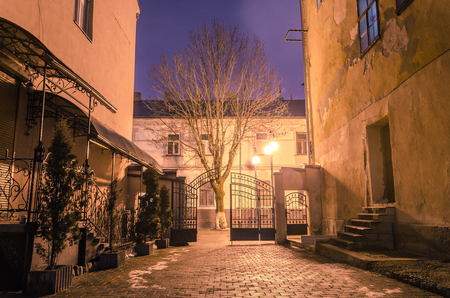 back alley: Beautiful narrow street of ancient city illuminated by lantern at night