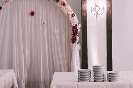 catered: table set for wedding or another catered event dinner Stock Photo