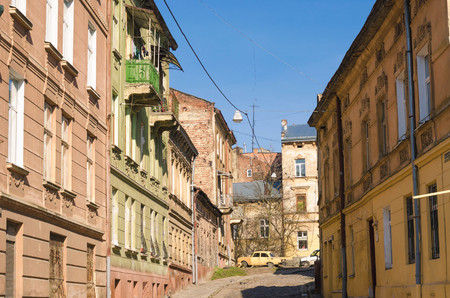 the architecture of the old city, Lviv, western Ukraine, old buildings and houses, narrow streets, baroque