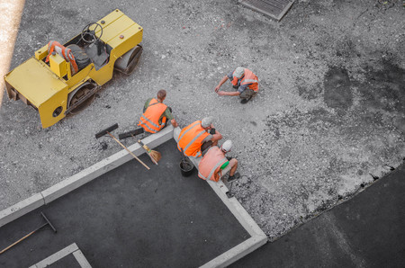Heavy Vibration roller at asphalt pavement works . road repairing
