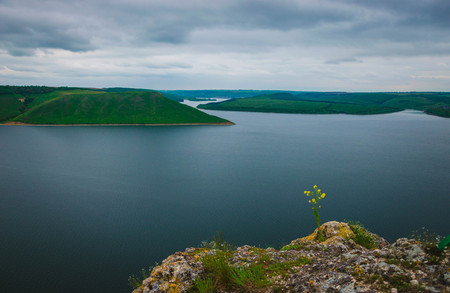 Aerial view on the Dniester Canyon, River and Bakota Bay in National Park Podillya Tovtry. Location place: Bakota, Ukraine