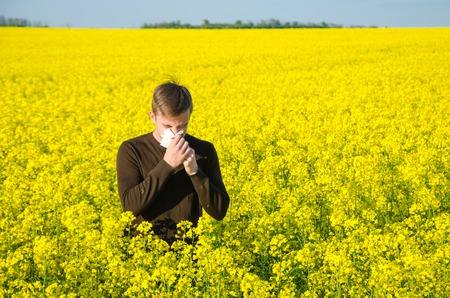A young man in a rapeseed yellow field with a handkerchief suffers from an allergy Stock Photo