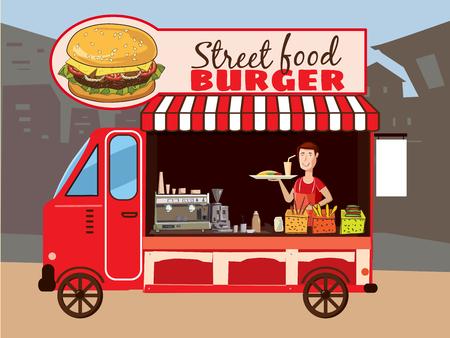 Colorful fast food truck. Street cuisine. Burgers, sandwiches, french fries. Food truck. Modern flat illustration.
