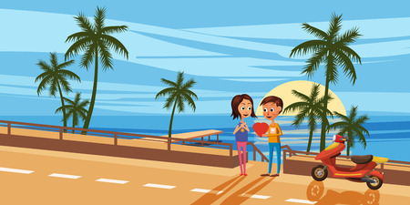 Couple sitting on the deck chairs at the sea. View from the back - Love or travel concept. Vector illustration