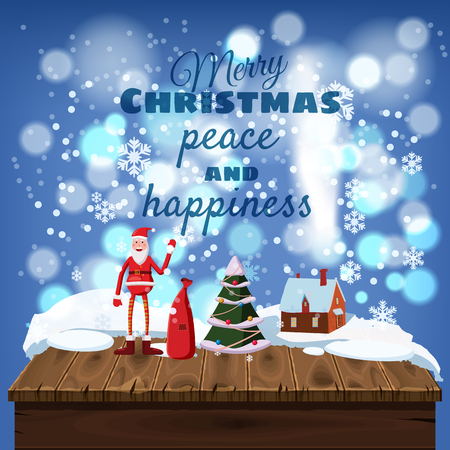 Cute christmas greeting cards wooden table covered with snow cute christmas greeting cards wooden table covered with snow santa claus with a bag m4hsunfo