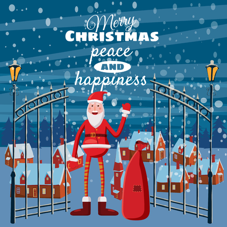 claus: Cute Christmas greeting, happy new year, card, countryside, Santa Claus with a bag of gifts, Cartoon style, vector illustration