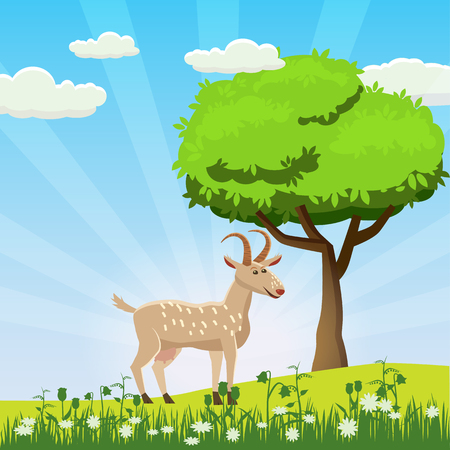 Goat grazing in a meadow on a background of a sea landscape, sun, sunrise, flowers, Cartoon style, vector illustration