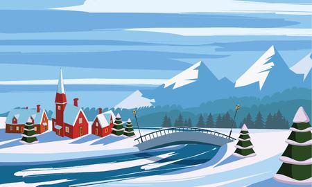 Winter landscape, mountains, river, bridge, village, trees in the snow, vector illustration Illustration