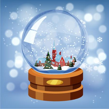 Christmas ball, snow decorating New Year, vector illustration
