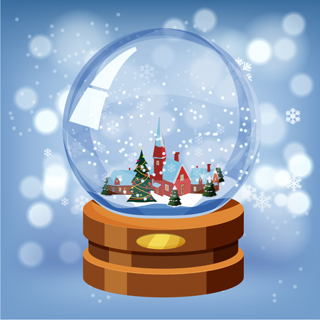 Christmas ball, snow decorating New Year, vector illustration