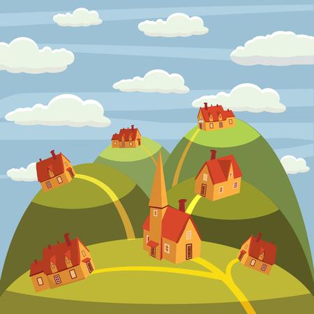 Landscape mountain, houses on the mountain tops, cartoon style, vector illustration