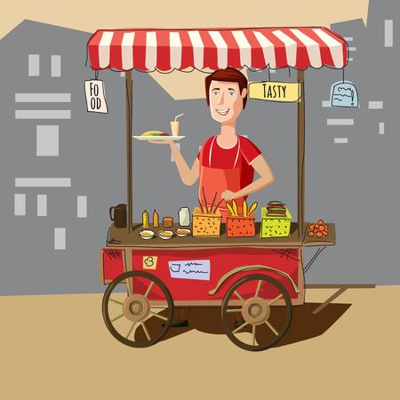 Street food truck street vendor in cartoon style vector illustration. Vectores