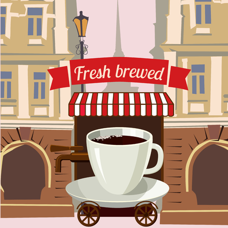 go to store: A cup of coffee stylized street cafe on wheels in the city, cartoon, vector illustration Illustration