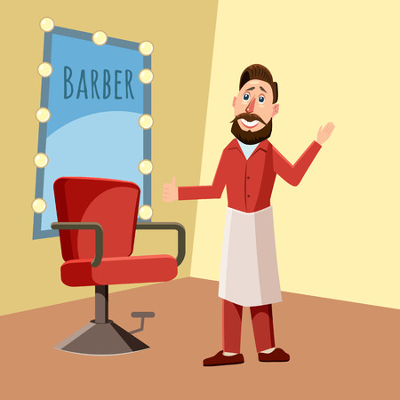 barbershop: Barber in the barber shop, cartoon style vector illustration