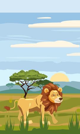 Leo on the pattern of the African landscape, savanna, Cartoon style, vector illustration Illustration