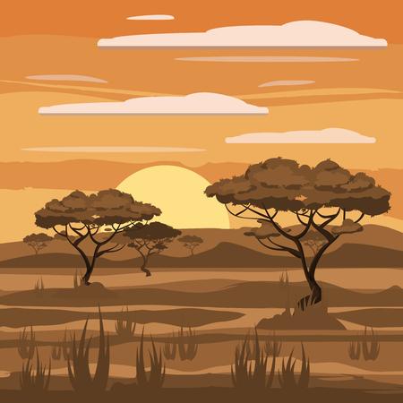 아프리카 풍경, 일몰, 사바나, 자연, 나무, 황야, 만화 스타일, 벡터 일러스트 레이션