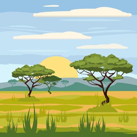 아프리카 풍경, 사바나, 자연, 나무, 황야, 만화 스타일, 벡터 일러스트 레이션