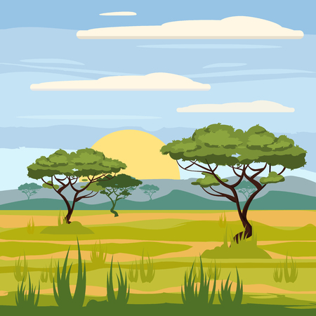 African landscape, savanna, nature, trees, wilderness, cartoon style, vector illustration Ilustração
