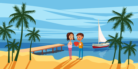 Couple sitting on the deck chairs at the sea. View from the back - Love or vacation concept. Vector illustration
