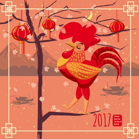 chinese new year card: Chinese new year, rooster, background Chinese landscape, mountains sea, boats, flowering tree, lanterns, cartoon style, design a poster, greeting card, vector illustration Illustration