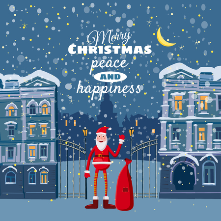 claus: Christmas card, winter, urban landscape, Santa Claus with a bag of gifts waving, snow, night, illuminated window, cartoon style, vector illustration