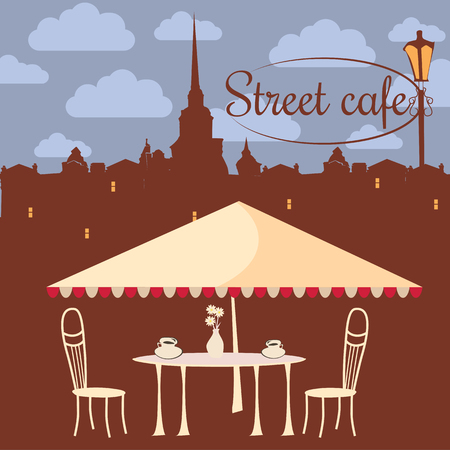 Street cafe, city, architecture, coffee, invitation, banner, vector illustration