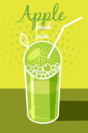 Fresh apple juice, leaflet, banner, vector illustration