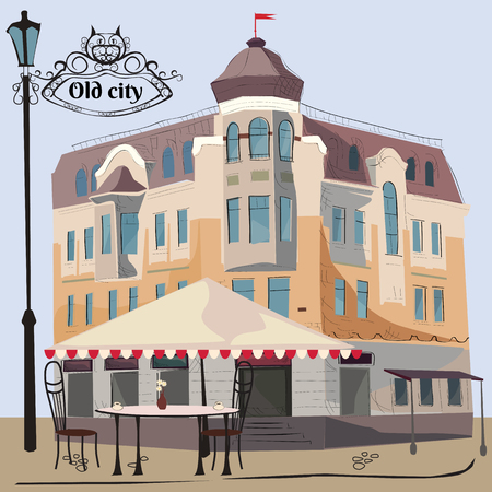 Vector illustration of street scene with cafe, vector illustration