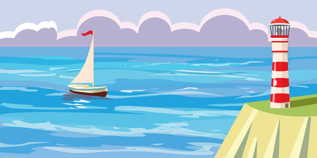 Seascape, clouds, sailboat, lighthouse, vector illustration