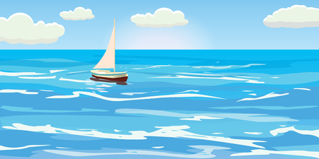 Beautiful seascape, waves, foam, sailboat, clouds, vector, illustration