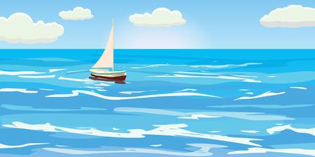 Beautiful seascape, waves, foam, sailboat, clouds, vector, illustration