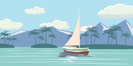 dolphin silhouette: Tropical paradise. Turquoise ocean, island, palm trees, yacht, vector illustration.