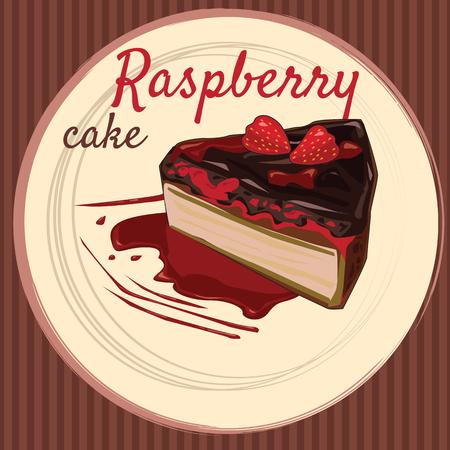 Raspberry cake, cartoon style, flyer, banner, vector illustration