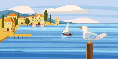 Seascape, coastal city, seagull, sea, sailboat, ocean, cardboard style, vector, illustration