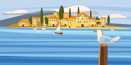 Overzeese Mediterrane stad, kust, boot, zeilboot, zeemeeuw, beeldverhaalstijl, vector, illustratie