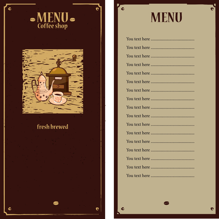 Coffee menu template with coffee grinder, coffee pot, cup
