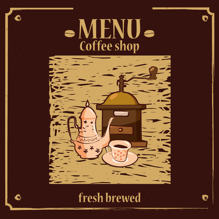 Coffee menu template for coffee shop with coffee grinder, coffee pot, cup