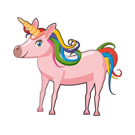 Cute cartoon standing unicorn, isolated on white
